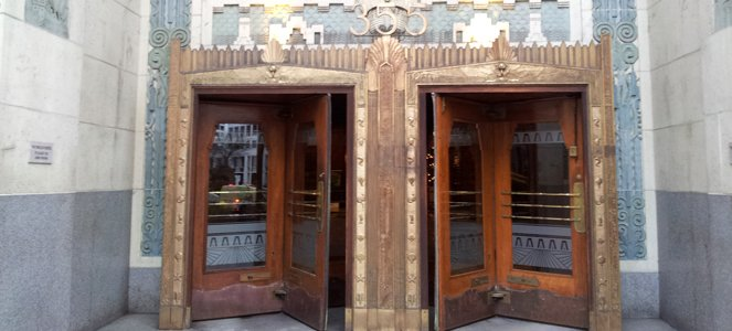 The front doors of Vancouver's Marine Building